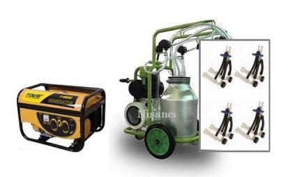 4 Keçi Sağım Kapasiteli Alüminyum Güğüm Jeneratörlü Keçi Sağım Makinesi